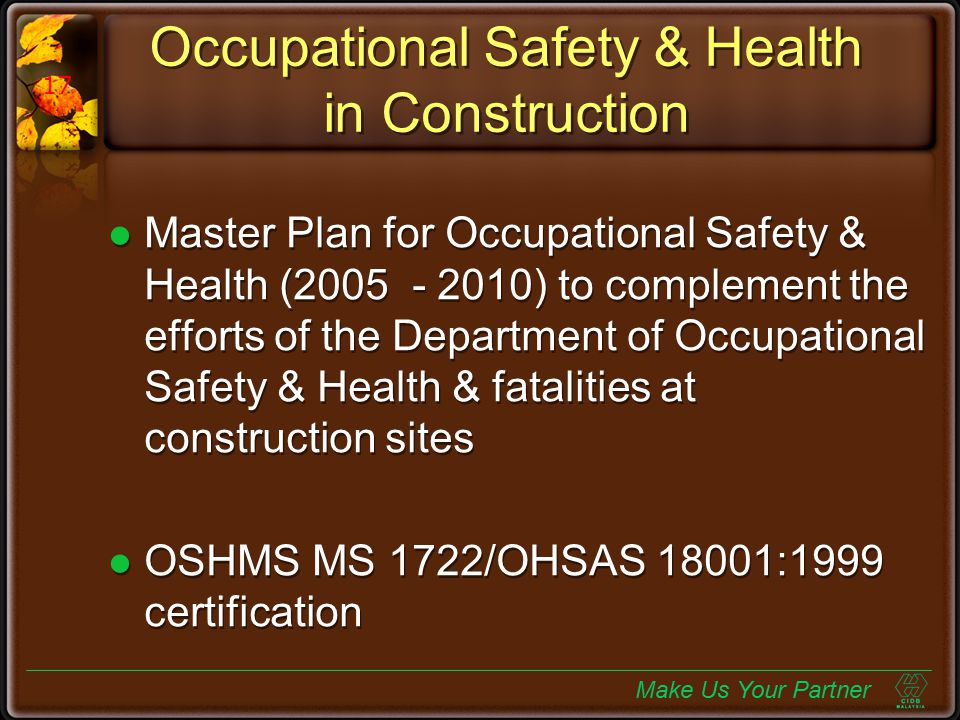 Occupational Safety & Health in Construction