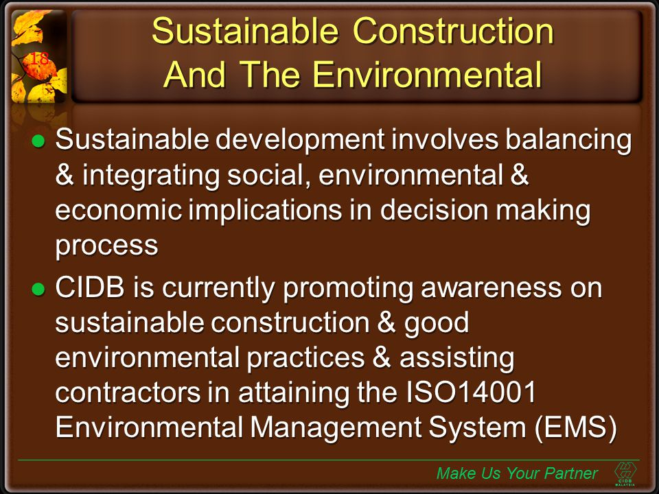 Sustainable Construction And The Environmental