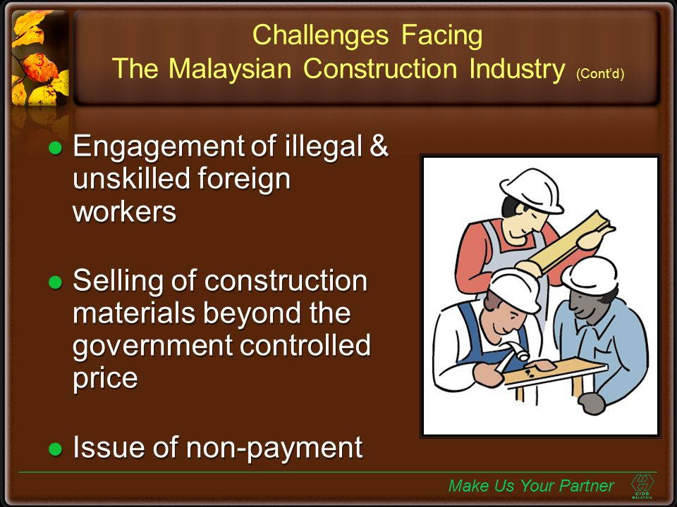 Challenges Facing The Malaysian Construction Industry (Cont'd)