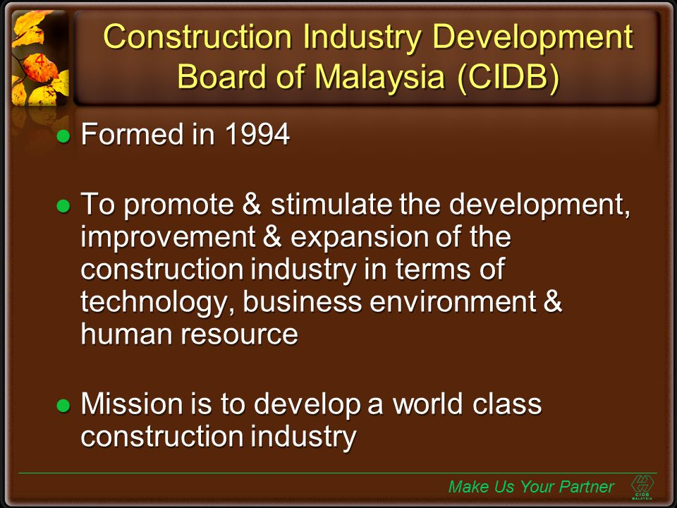 Construction Industry Development Board of Malaysia (CIDB)