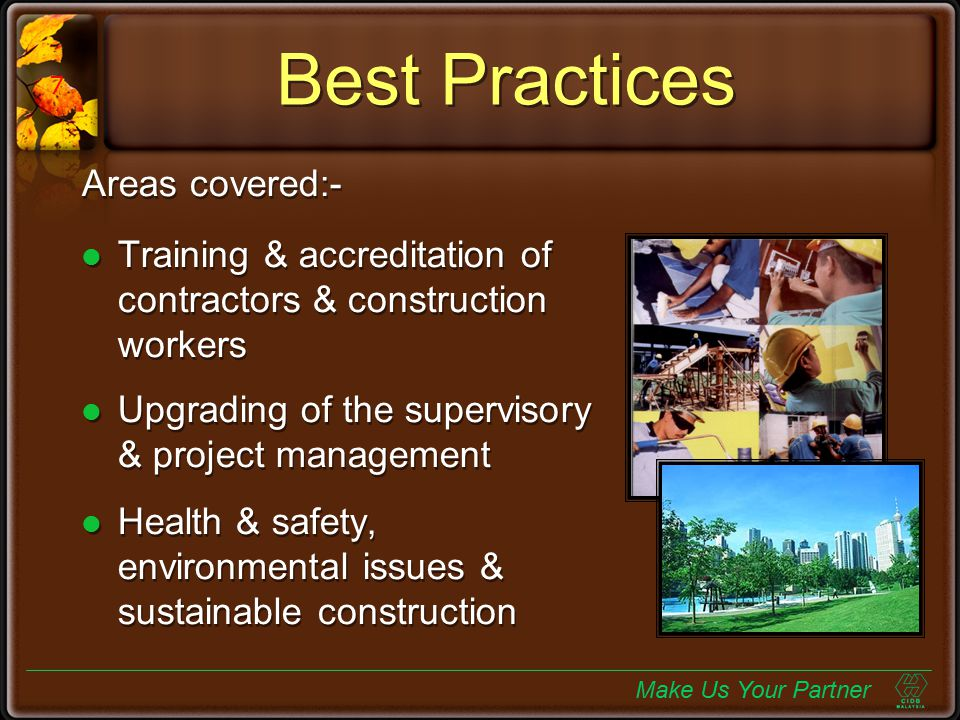Best Practices Areas covered:-