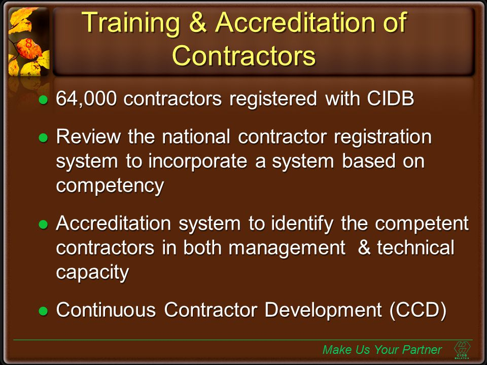 Training & Accreditation of Contractors