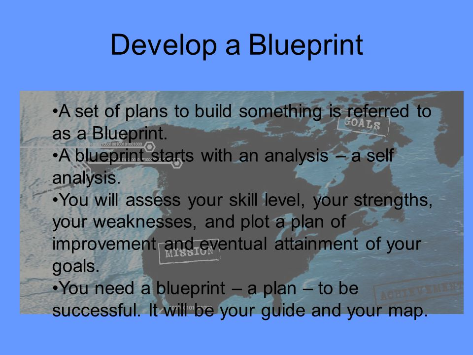 Develop a Blueprint A set of plans to build something is referred to as a Blueprint. A blueprint starts with an analysis – a self analysis.