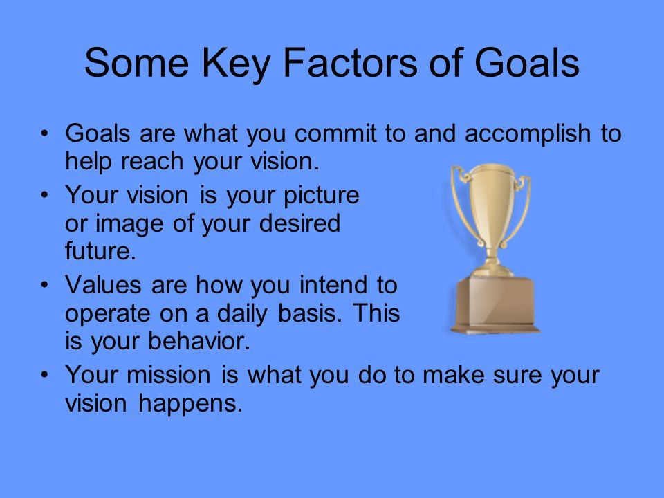 Some Key Factors of Goals