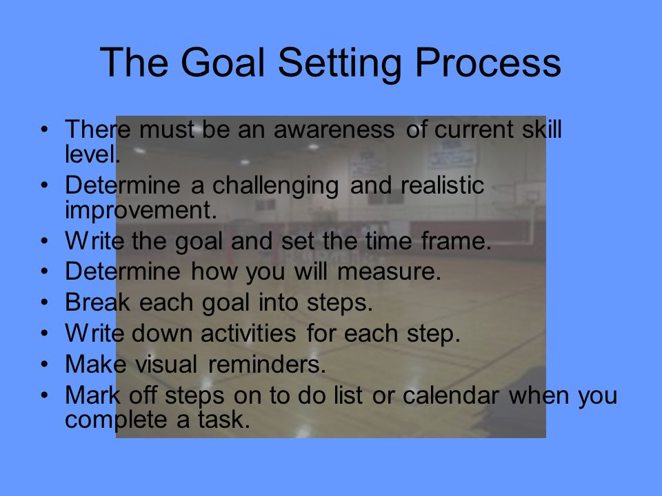 The Goal Setting Process