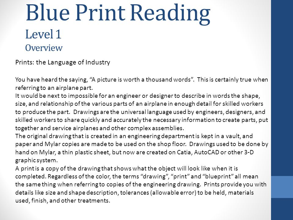 Blue Print Reading Level 1 Overview