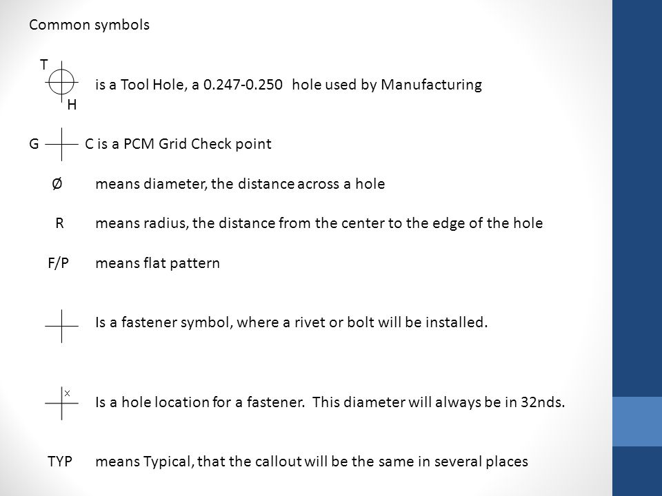 Common symbols T. is a Tool Hole, a 0.247-0.250 hole used by Manufacturing. H. G C is a PCM Grid Check point.