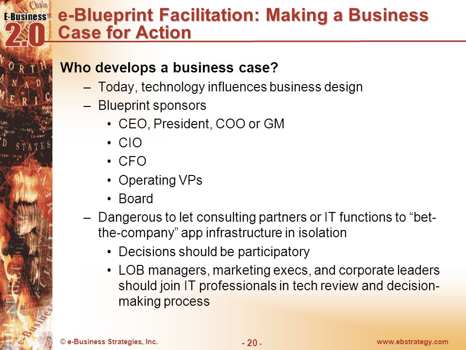 e-Blueprint Facilitation: Making a Business Case for Action