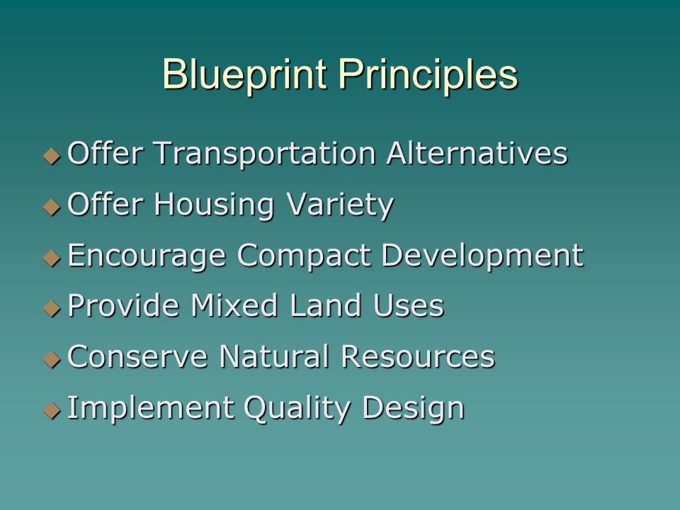 Blueprint Principles Offer Transportation Alternatives