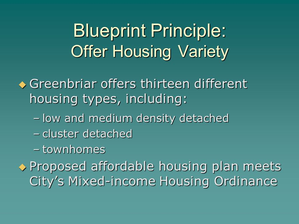 Blueprint Principle: Offer Housing Variety