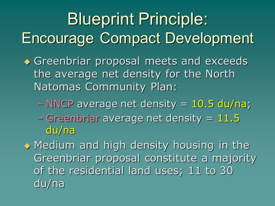 Blueprint Principle: Encourage Compact Development