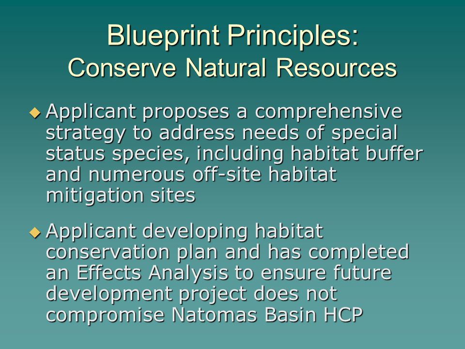 Blueprint Principles: Conserve Natural Resources