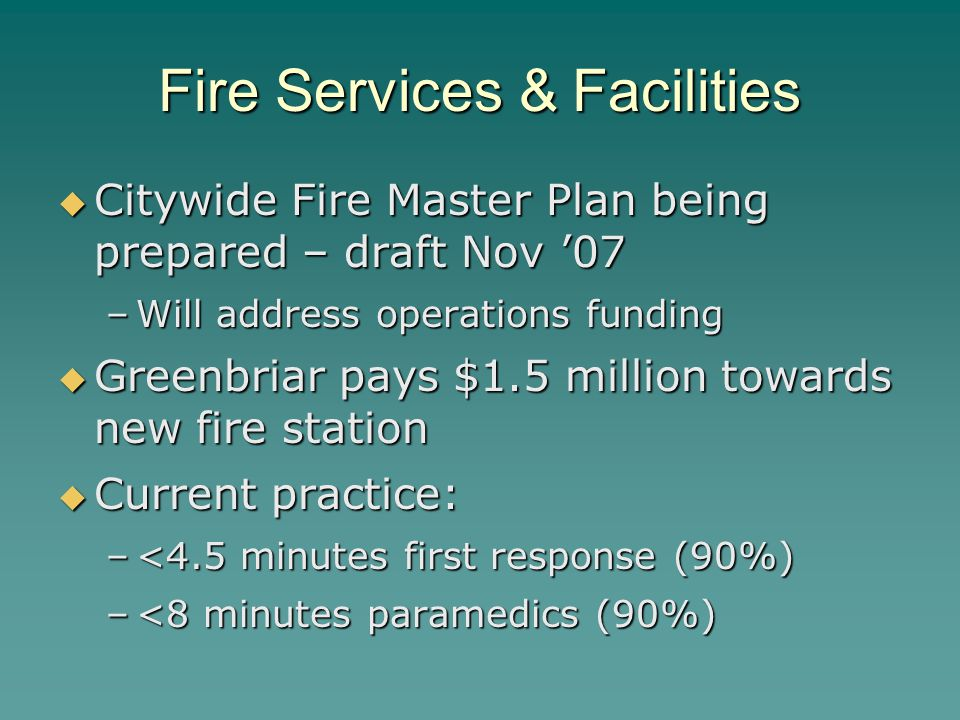 Fire Services & Facilities