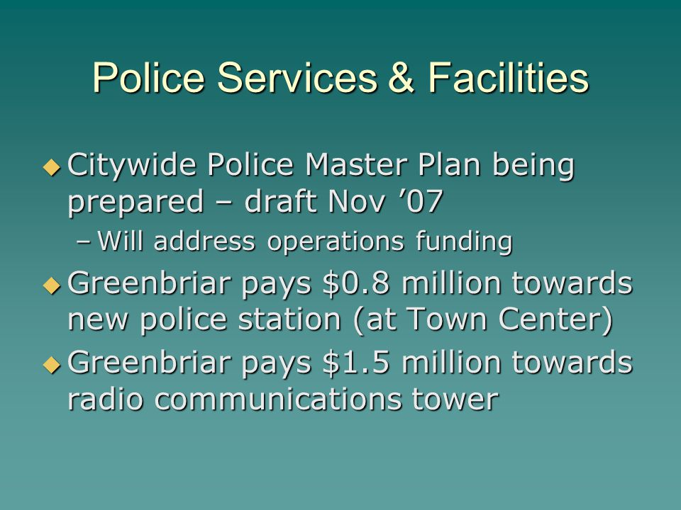 Police Services & Facilities