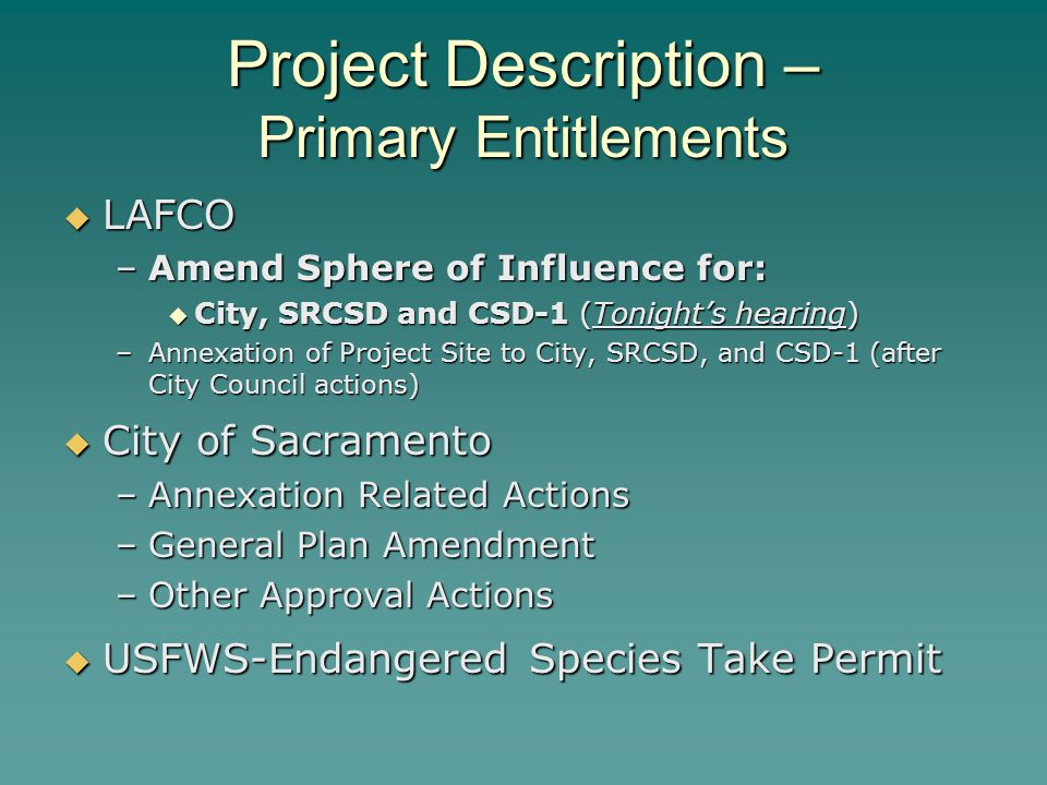 Project Description – Primary Entitlements