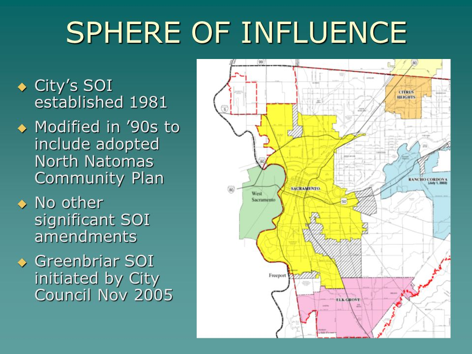 SPHERE OF INFLUENCE City's SOI established 1981