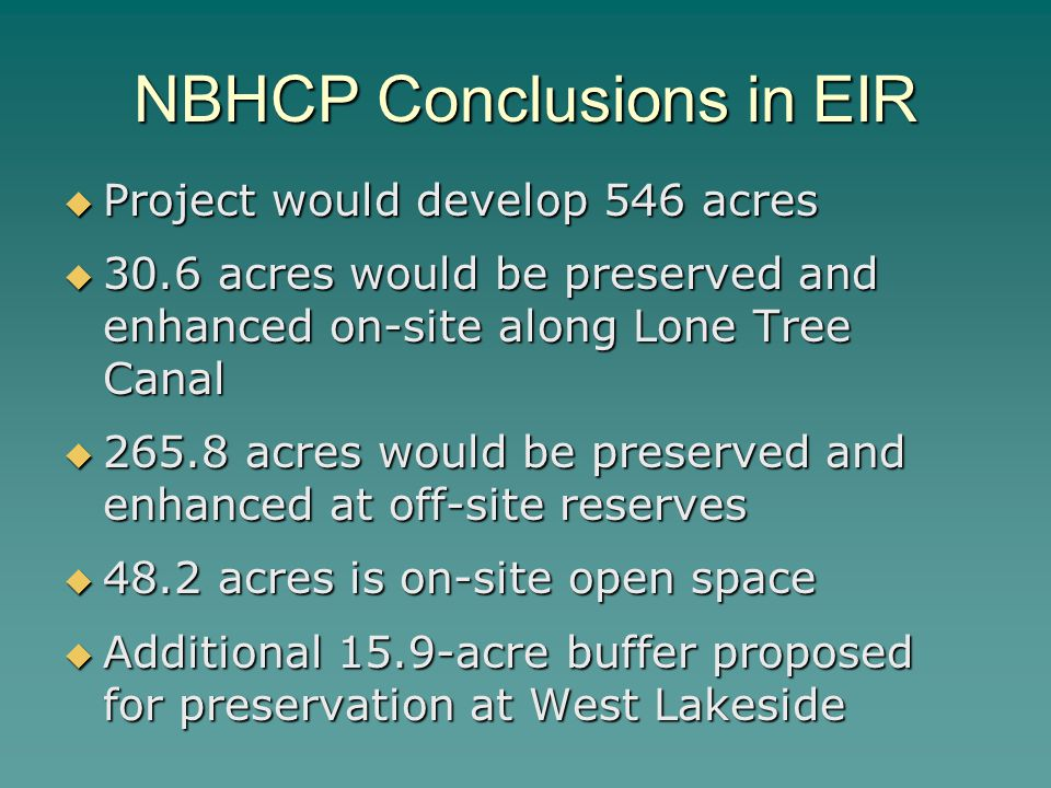 NBHCP Conclusions in EIR