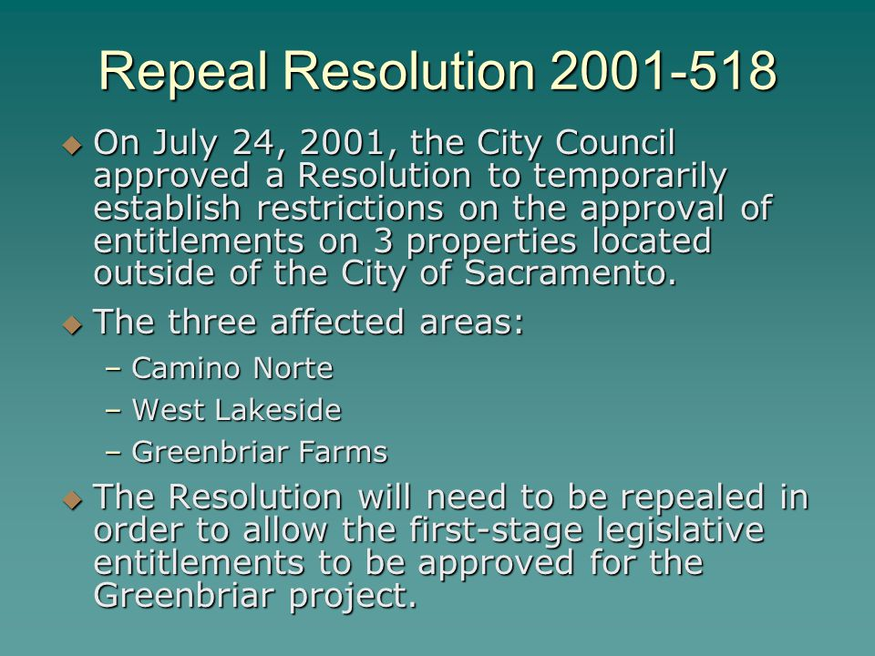 Repeal Resolution 2001-518