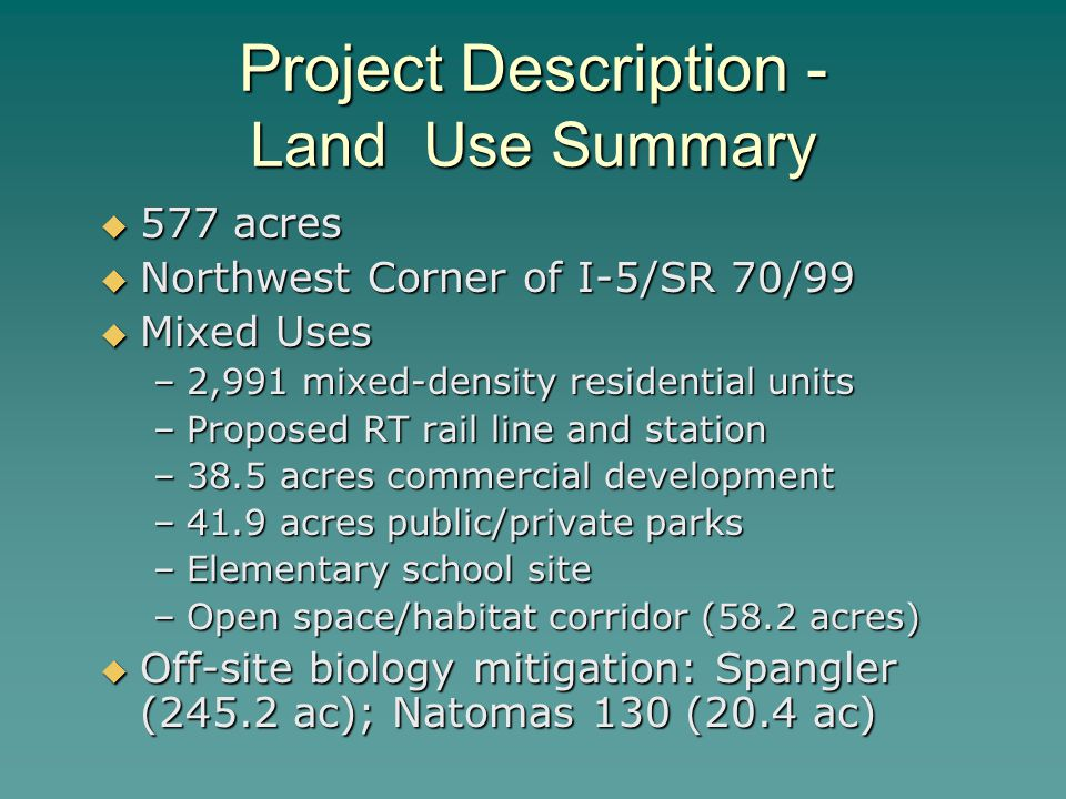 Project Description - Land Use Summary