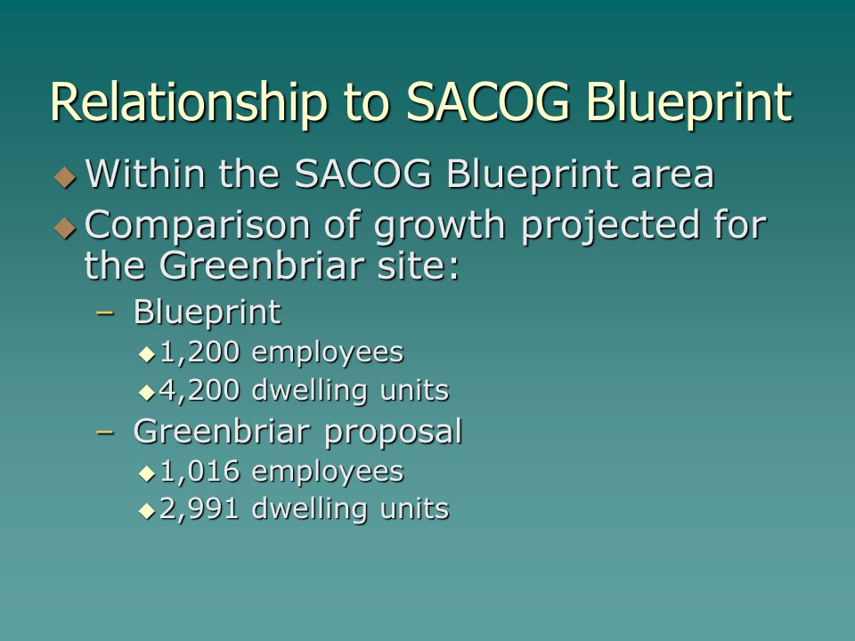 Relationship to SACOG Blueprint