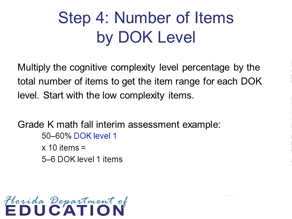 Step 4: Number of Items by DOK Level