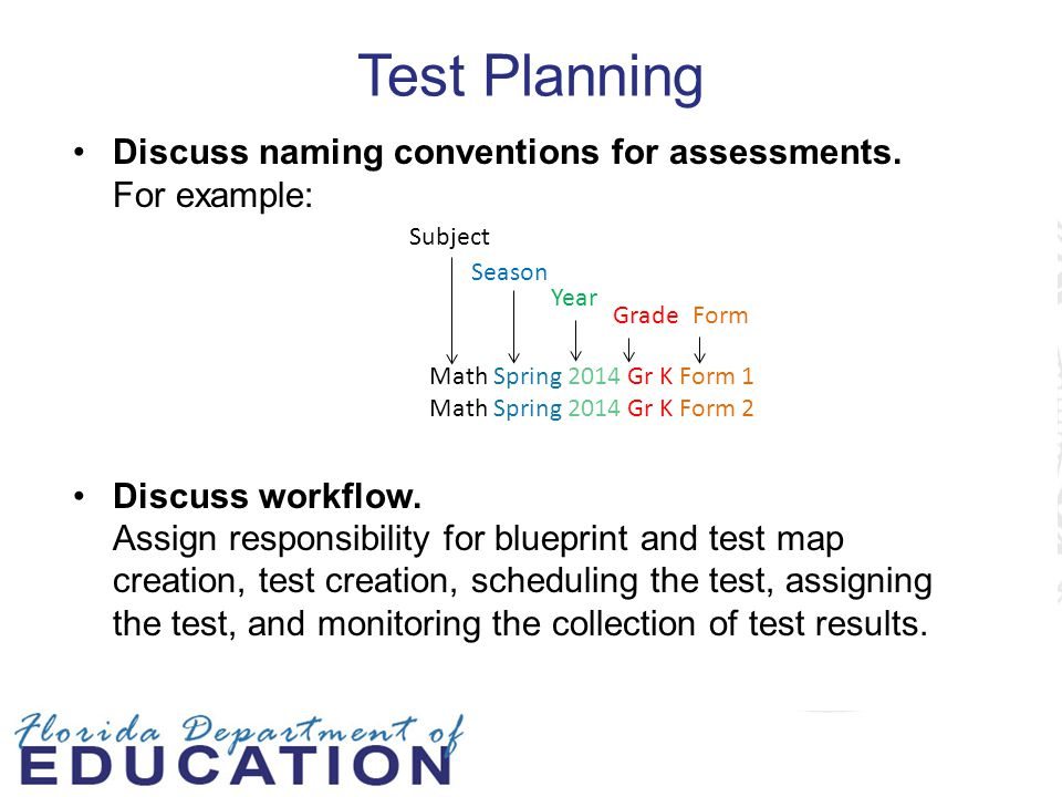 Test Planning Discuss naming conventions for assessments. For example: