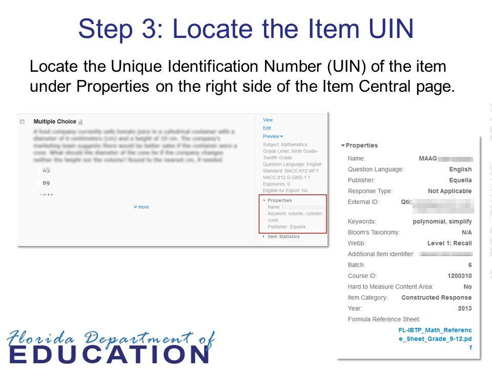 Step 3: Locate the Item UIN