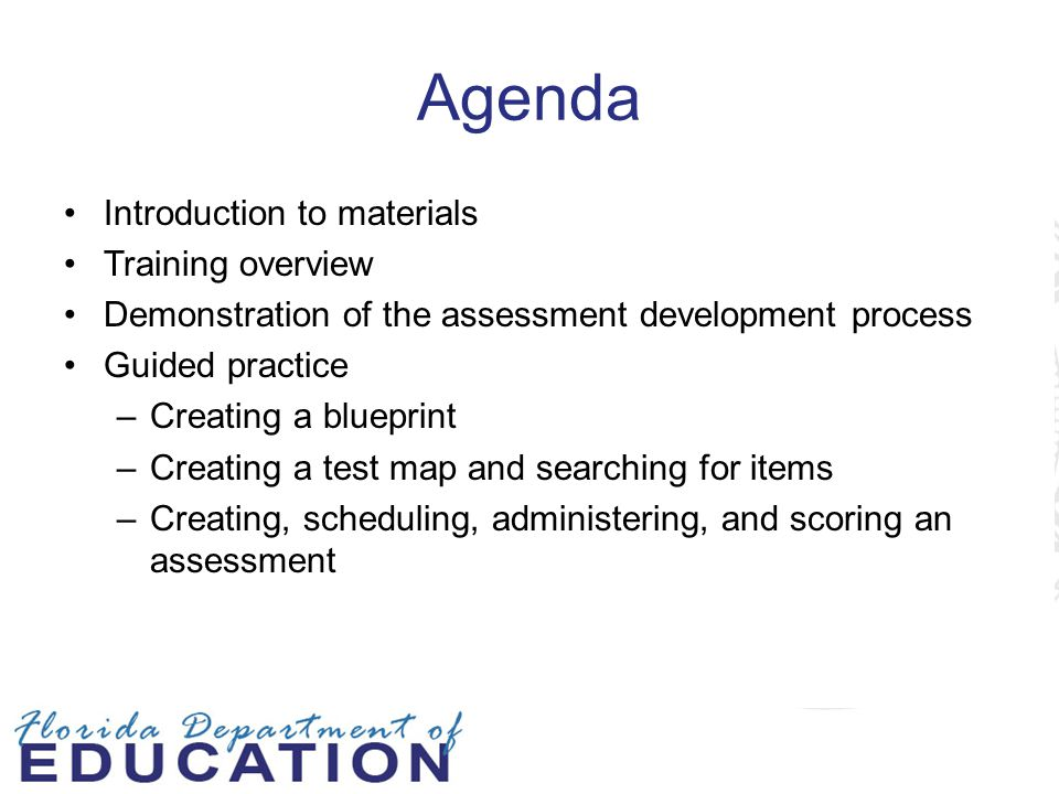 Agenda Introduction to materials Training overview