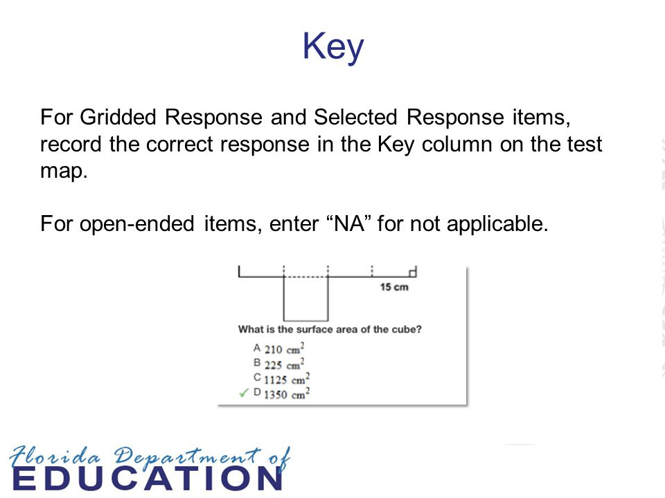 Key For Gridded Response and Selected Response items, record the correct response in the Key column on the test map.