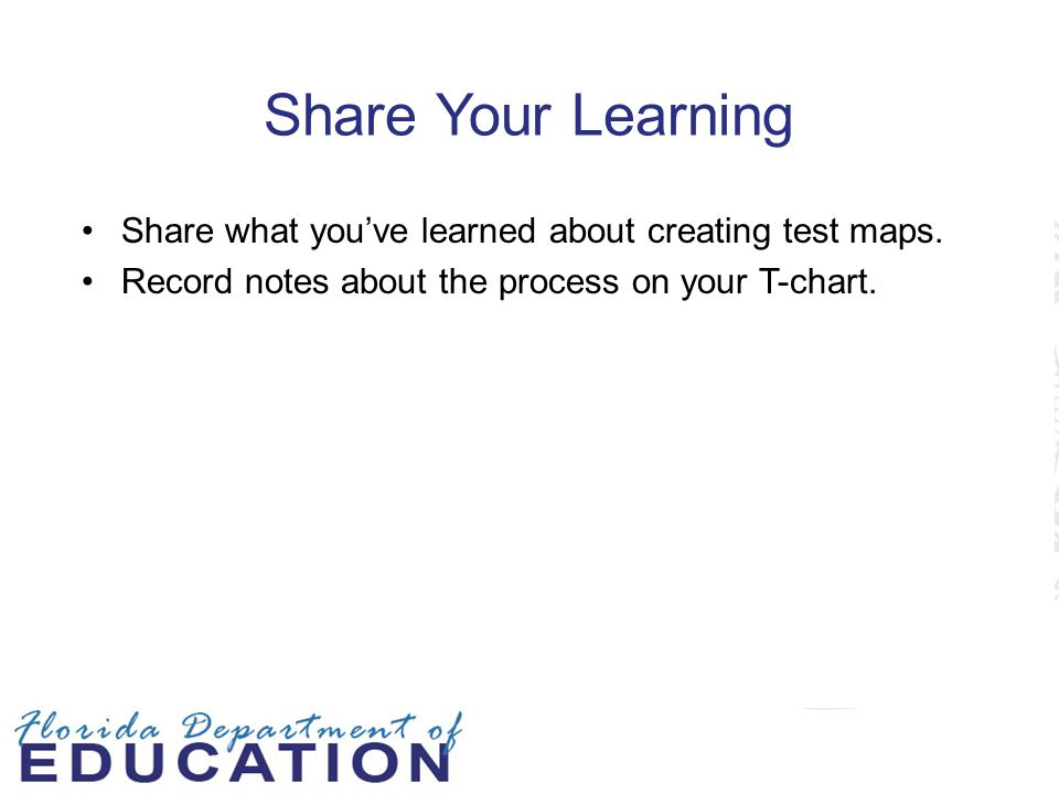 Share Your Learning Share what you've learned about creating test maps. Record notes about the process on your T-chart.