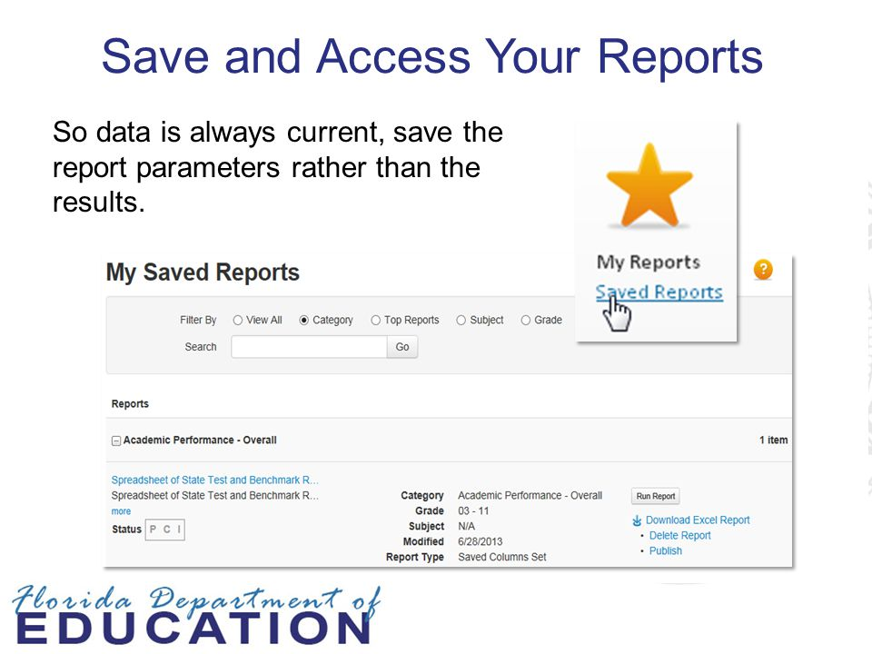 Save and Access Your Reports