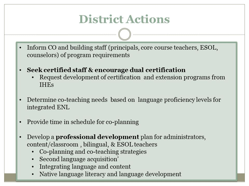 District Actions Inform CO and building staff (principals, core course teachers, ESOL, counselors) of program requirements.