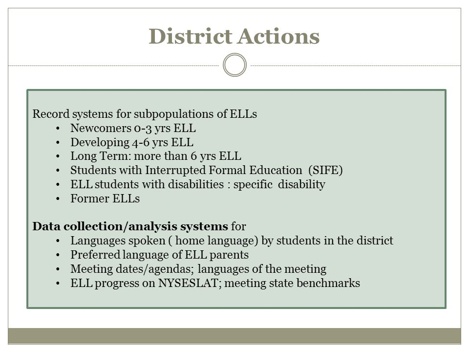 District Actions Record systems for subpopulations of ELLs