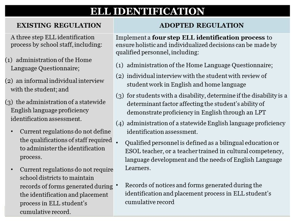 ELL IDENTIFICATION EXISTING REGULATION ADOPTED REGULATION