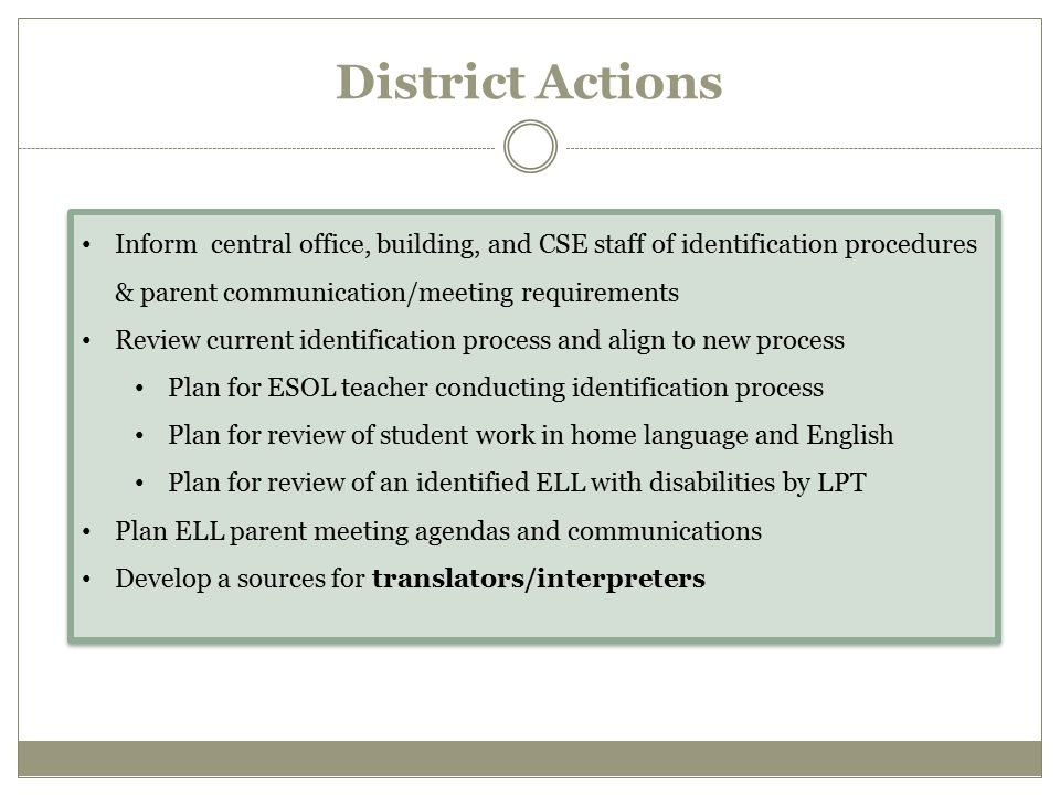 District Actions Inform central office, building, and CSE staff of identification procedures & parent communication/meeting requirements.