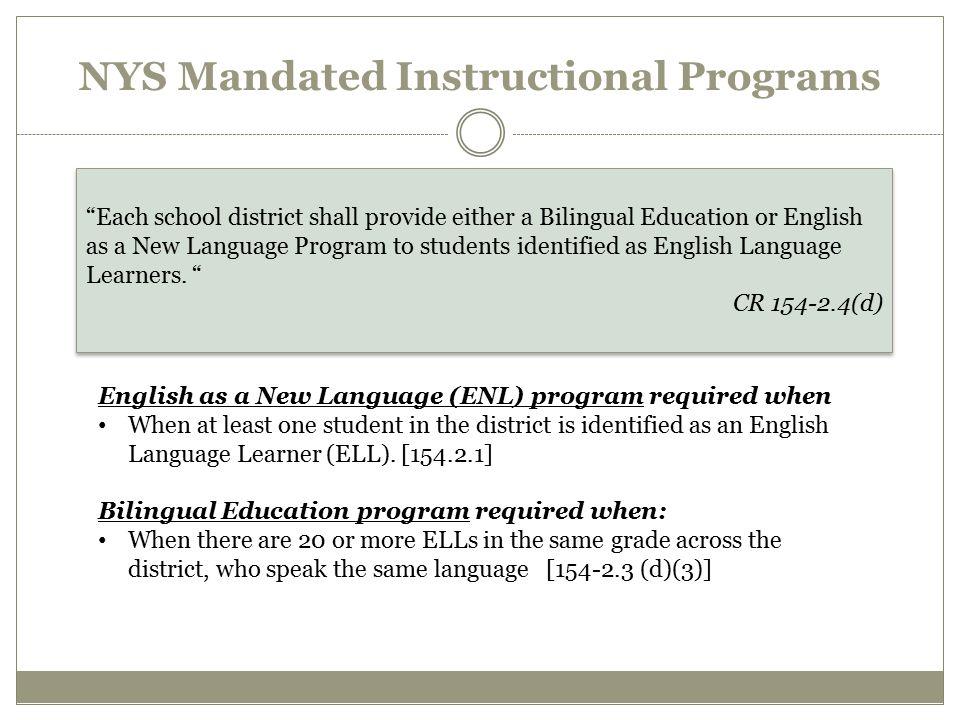 NYS Mandated Instructional Programs