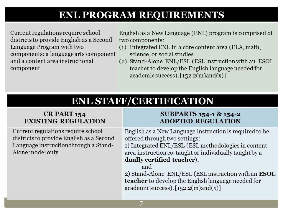 ENL PROGRAM REQUIREMENTS ENL STAFF/CERTIFICATION