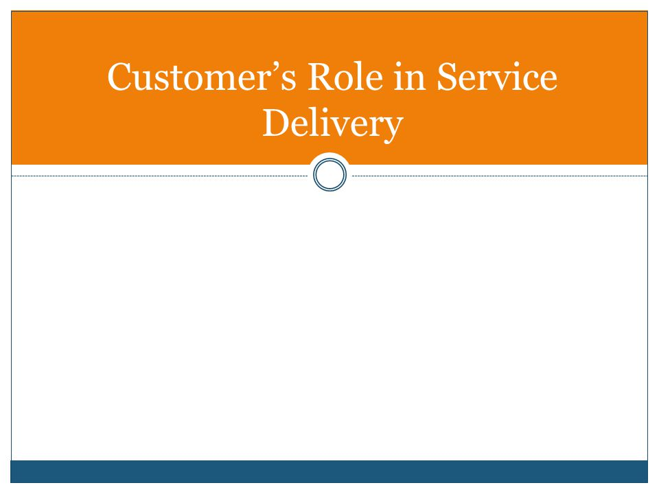 Customer's Role in Service Delivery