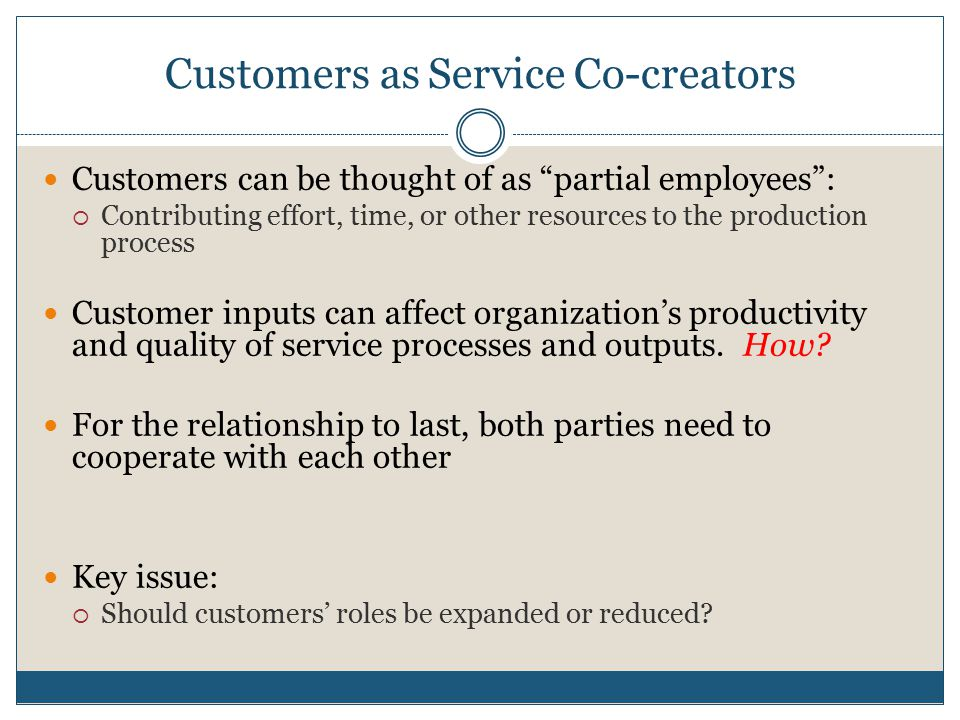 Customers as Service Co-creators
