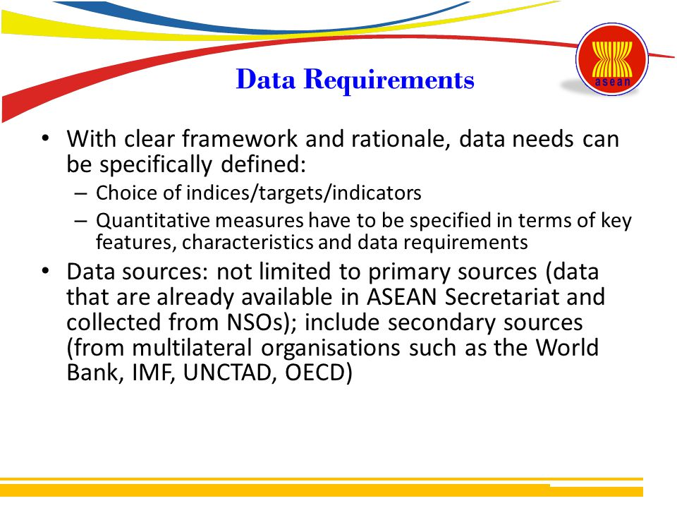 Data Requirements With clear framework and rationale, data needs can be specifically defined: Choice of indices/targets/indicators.