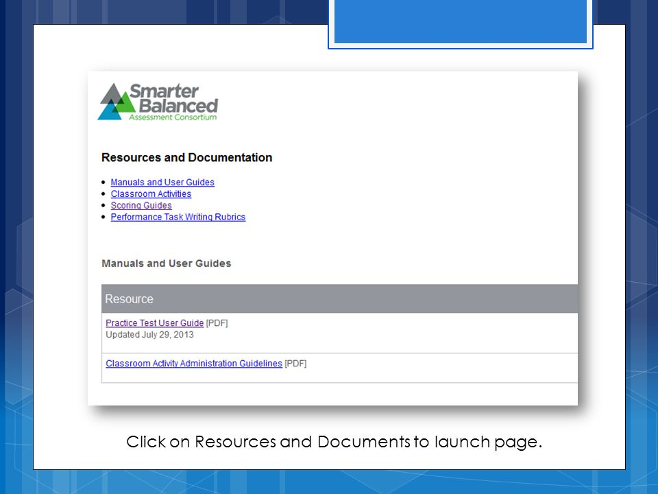 Click on Resources and Documents to launch page.