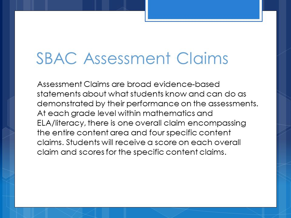 SBAC Assessment Claims