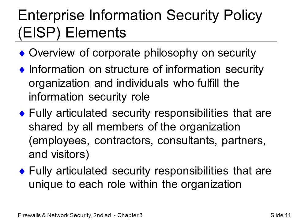 Enterprise Information Security Policy (EISP) Elements