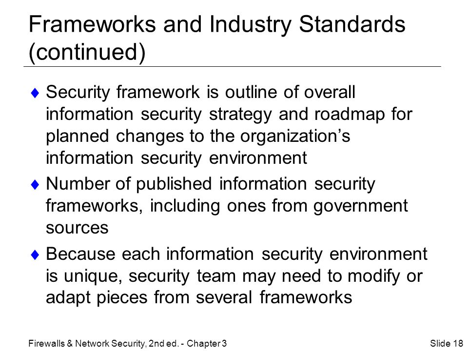 Frameworks and Industry Standards (continued)