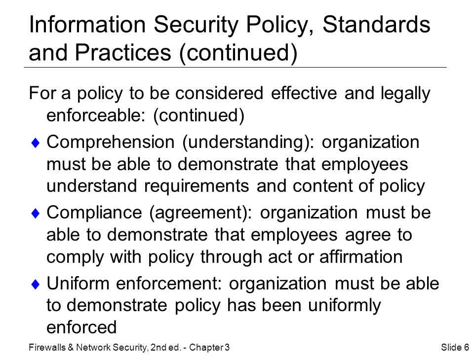 Information Security Policy, Standards and Practices (continued)