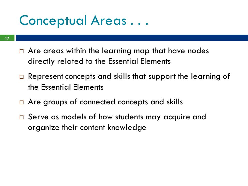 Conceptual Areas . . . Are areas within the learning map that have nodes directly related to the Essential Elements.