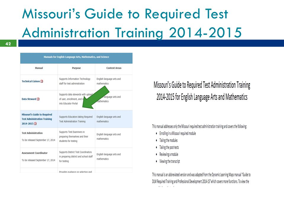 Missouri's Guide to Required Test Administration Training 2014-2015