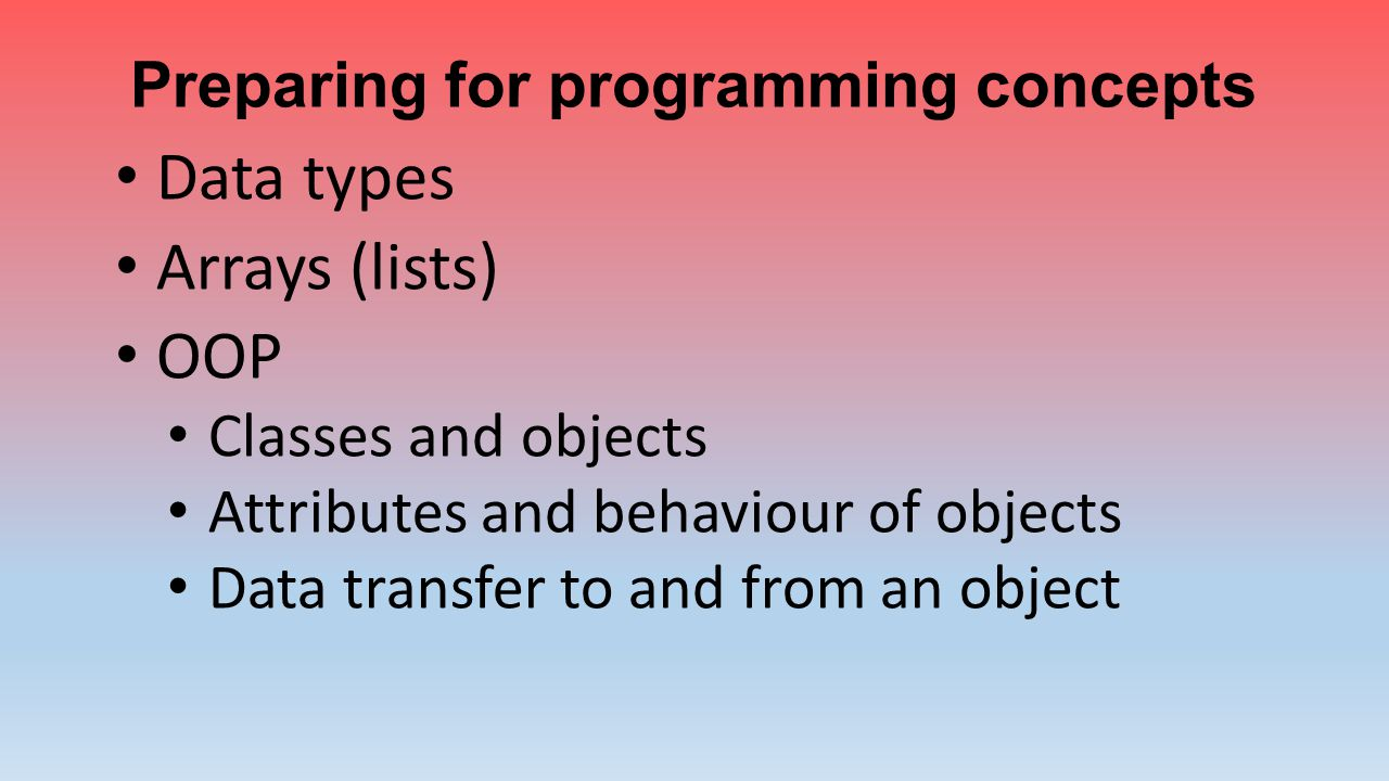 Preparing for programming concepts