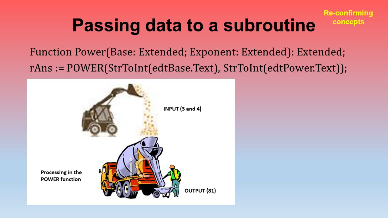 Passing data to a subroutine