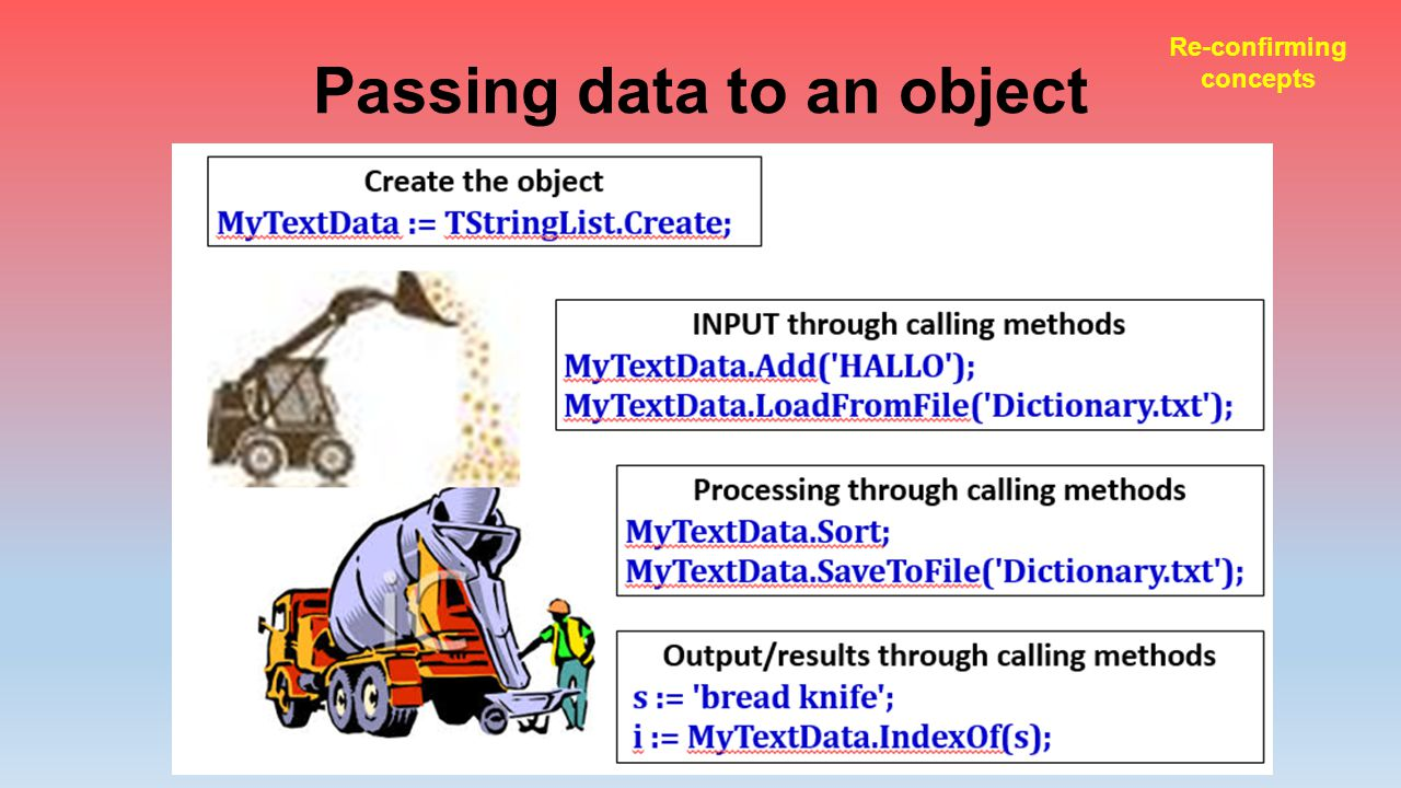 Passing data to an object